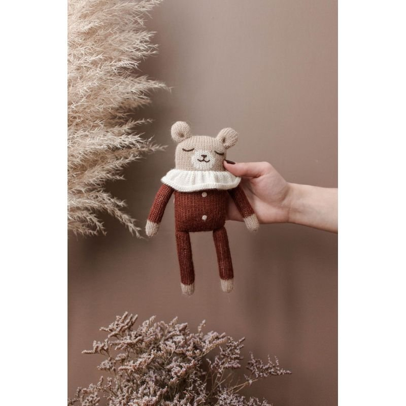 Doudou ourson, pyjama sienne - 22 cm