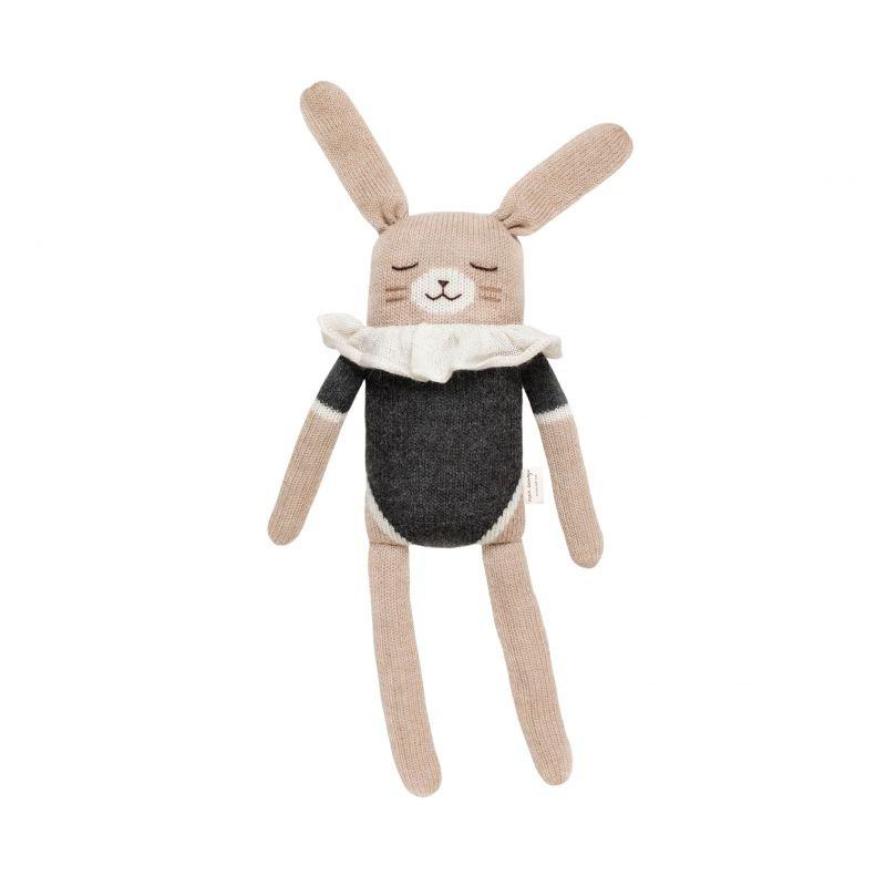 Grand doudou lapin, maillot noir - 42 cm