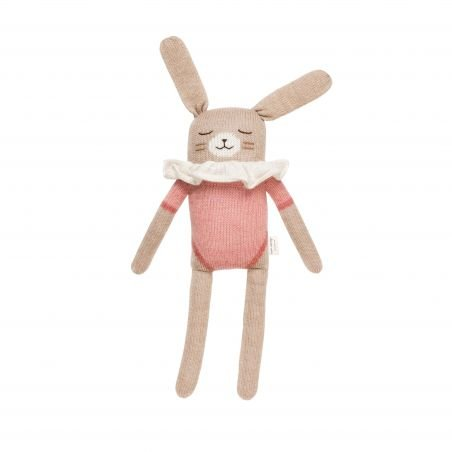 Grand doudou lapin, maillot rose - 42 cm
