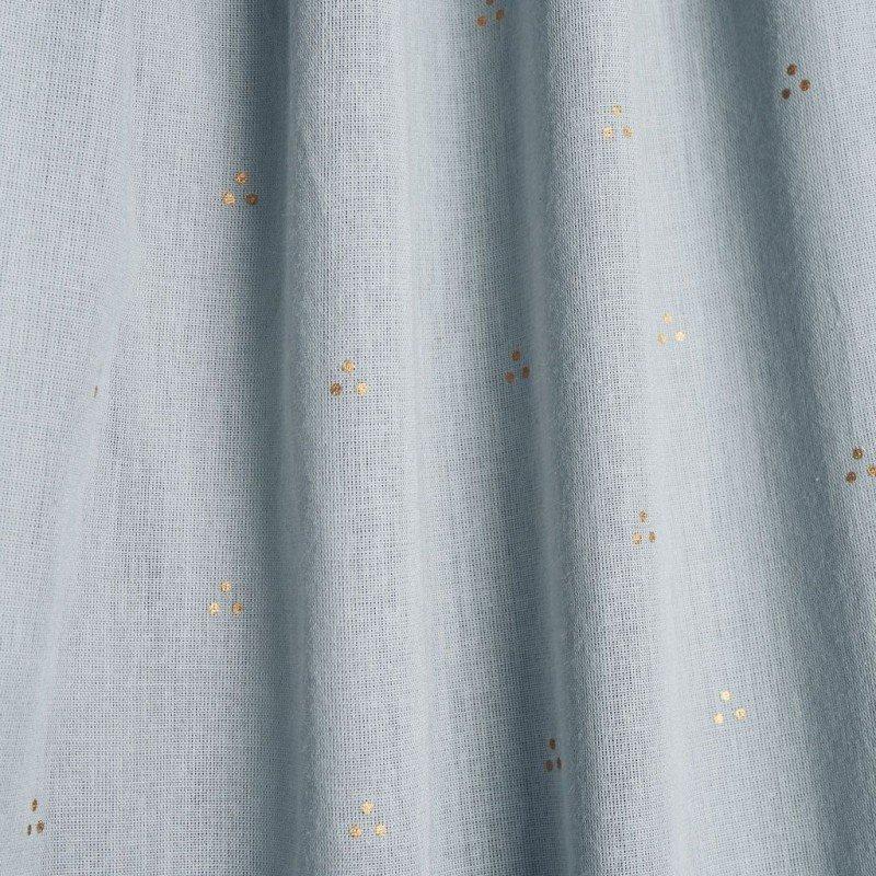 Zoom sur le coton bio du ciel de lit vert CamCam