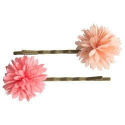 2 barrettes fleurs Rose