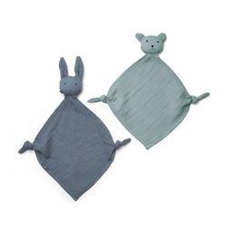 2 petits doudous yoko | Bleu mix
