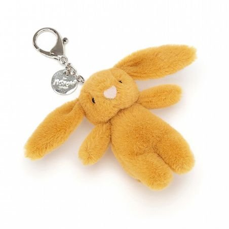 Porte clé peluche lapin moutarde