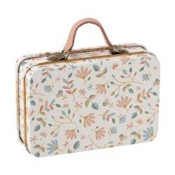 Mini valise en métal | Fleurs beige