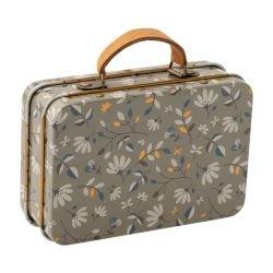 Mini valise en métal | Fleurs gris