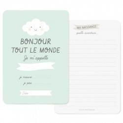 Carte naissance Bonjour Bleu