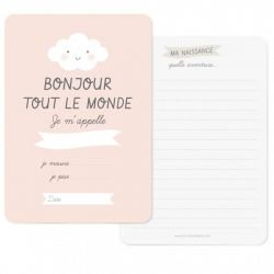 Carte naissance Bonjour Rose