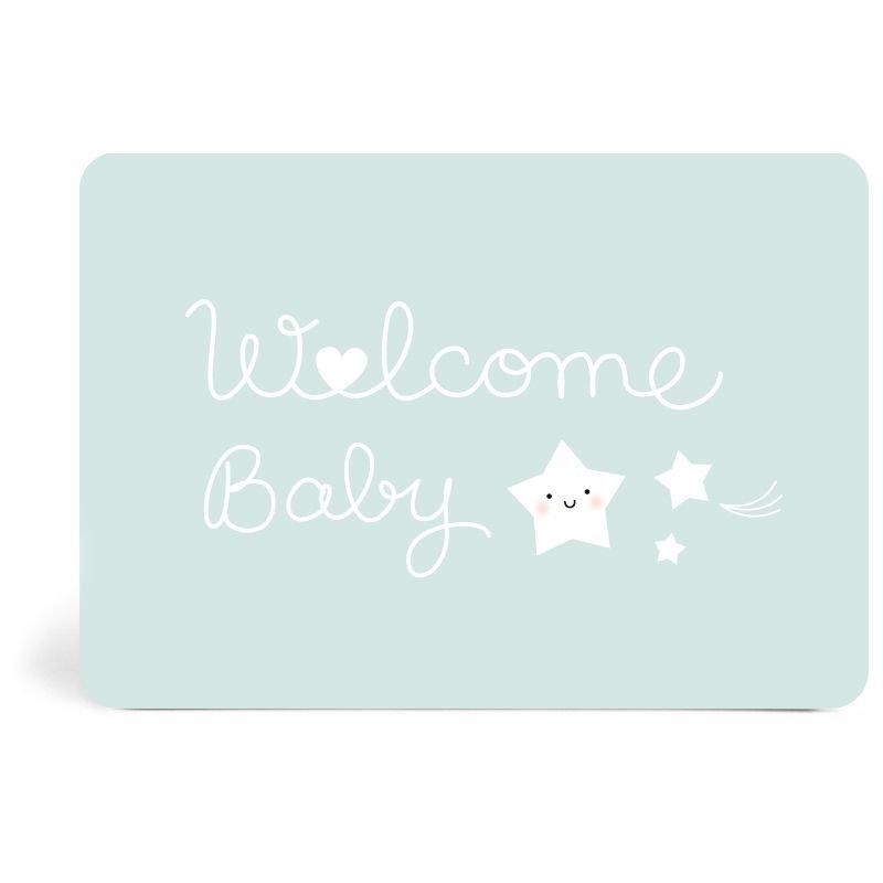 Carte Welcome baby bleu