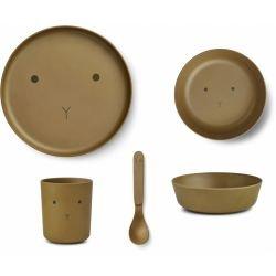 Box repas en bambou |  Lapin vert olive