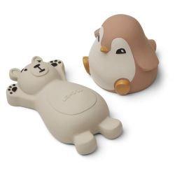 2 jouets pour le bain | Ours et Pingouin Rose