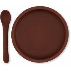 Assiette et cuillère en silicone | Mocca