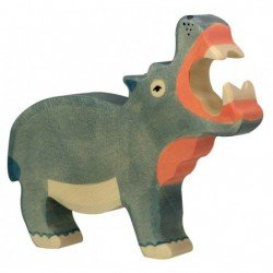 Hippopotame en bois bouche...