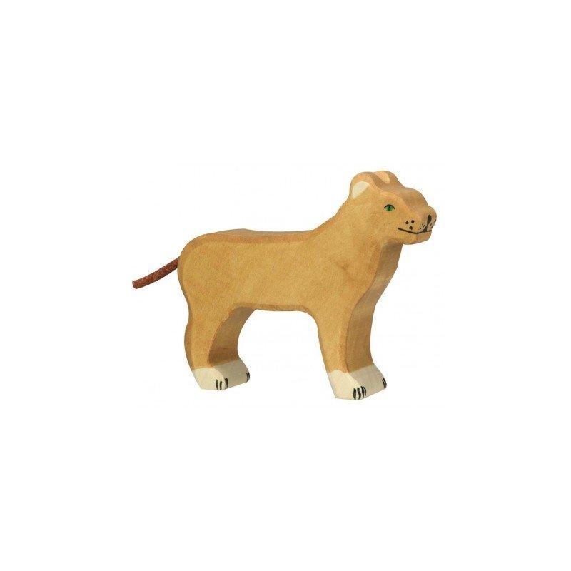 Lionne en bois par Holztiger