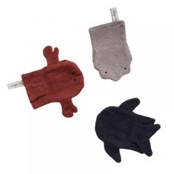 3 gants de toilette