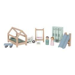 Chambre d'enfants en bois pour maison de poupées