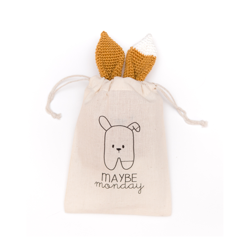 Doudou au crochet Garance Prune par May Be Monday dans sa pochette