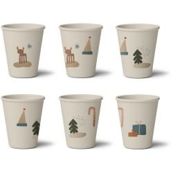 6 verres en bambou | Noël