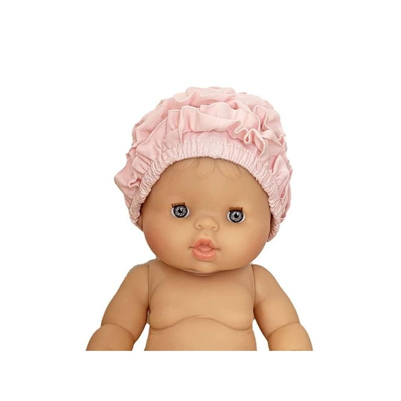 Bonnet de bain poupée en coton Rose