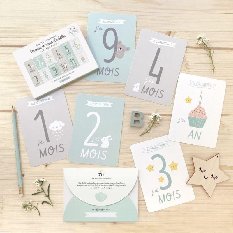 Kit de cartes souvenirs de bébé de 1 à 12 mois