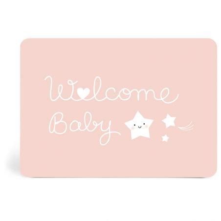 Carte Welcome baby   Rose par Zü