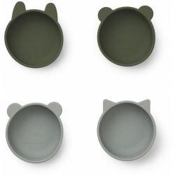 4 bols en silicone | Vert mix