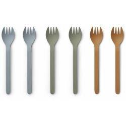 Pack de 6 fourchettes en Bambou | Bleu Vert Moutarde