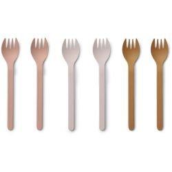 Pack de 6 fourchettes en Bambou |Rose et Moutarde