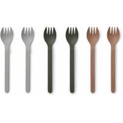 Pack de 6 fourchettes en Bambou |Vert et Terracotta