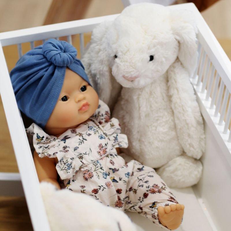 Lit de poupée à bascule blanc
