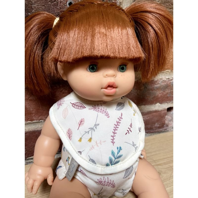 Kit couche + bavoir pour poupée | Feuilles roses