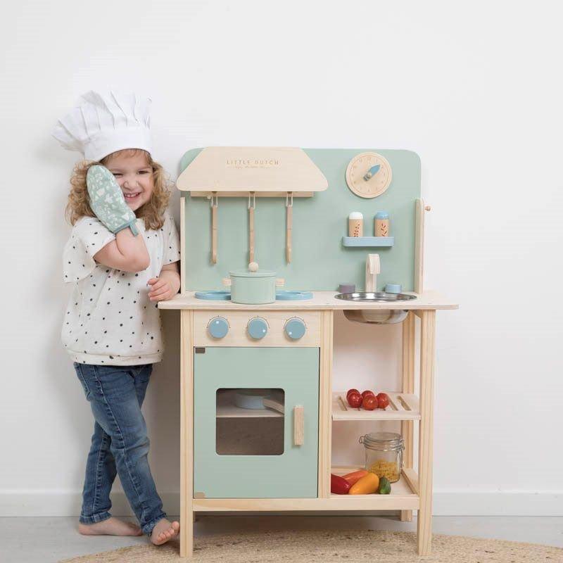 Cuisine en bois | Vert menthe par Little Dutch avec enfant