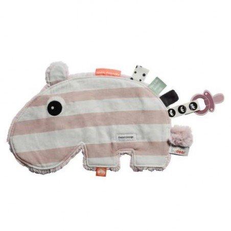 Doudou Hippo rose face rayée par Done by deer