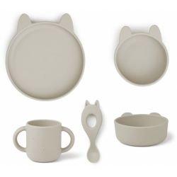 Box repas en silicone 4 pièces | Lapin blanc gris