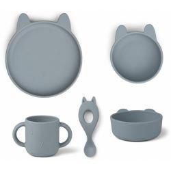 Box repas en silicone 4 pièces | Lapin blanc bleu