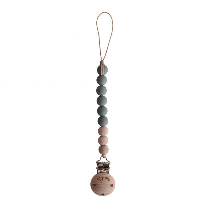Attache tétine perles Bois et silicone | Thym par Mushie