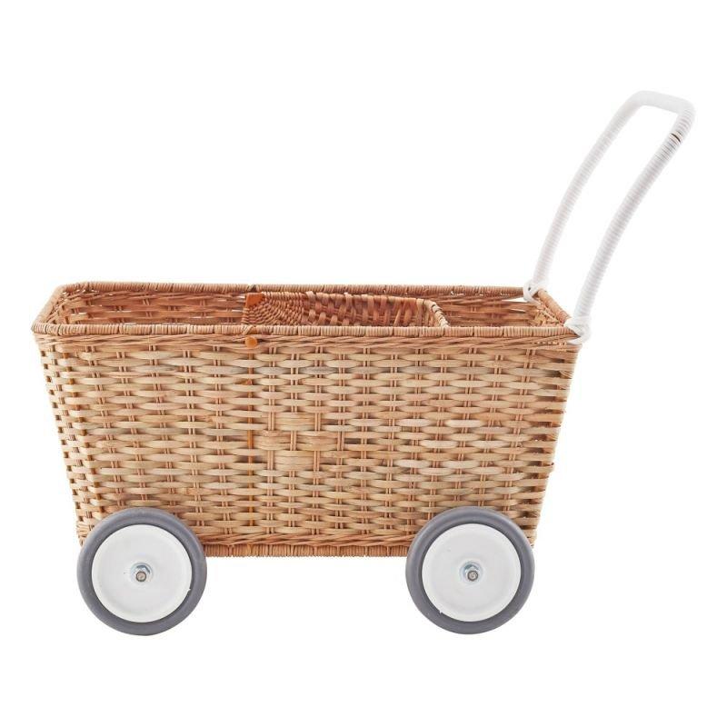 Chariot poussette rotin pour poupées   Naturel