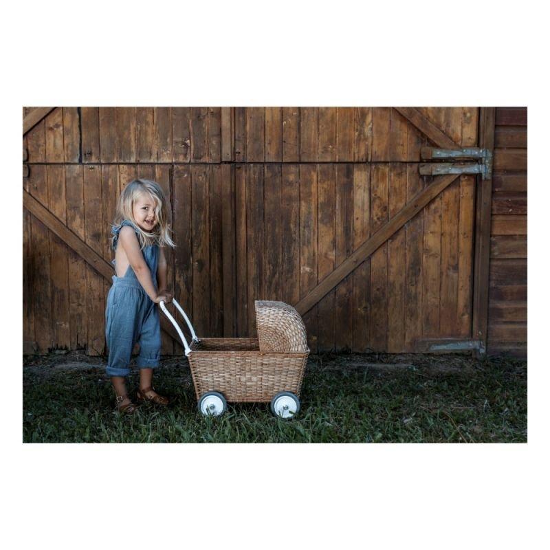 Chariot poussette rotin pour poupées | Naturel