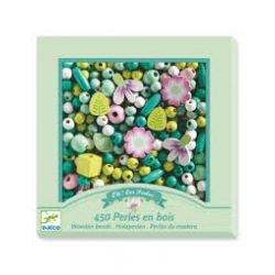 Perles en bois vert