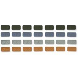 Dominos en silicone | Bleu, vert et moutarde