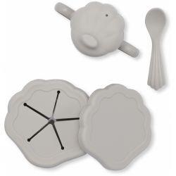 Set de repas coquillage en silicone | Gris
