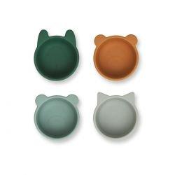 4 petits bols en silicone | Vert mix