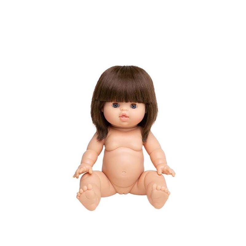 Poupée fille brune Chloé aux yeux dormeurs par Paola Reina à plat