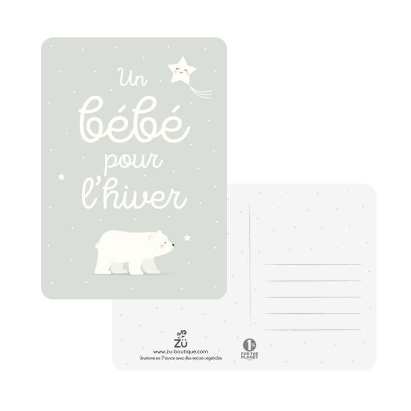 Carte Un bébé pour l'hiver par Zü recto verso