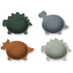 4 bols Dino en silicone | Vert, bleu et moutarde par Liewood