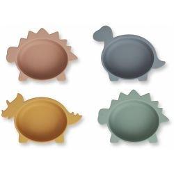 4 bols Dino en silicone | Rose, vert, bleu et jaune par Liewood