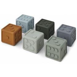 Petits cubes en silicone | Bleu mix par Liewood